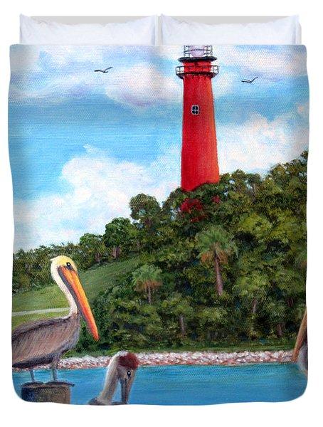Jupiter Inlet Pelicans Duvet Cover