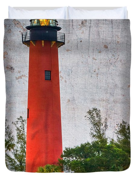 Jupiter Lighthouse Duvet Cover by Debra and Dave Vanderlaan