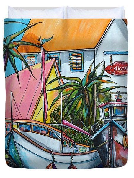 Just A Little Beach Town Duvet Cover