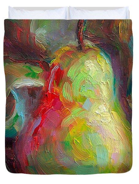 Just A Pear - Impressionist Still Life Duvet Cover