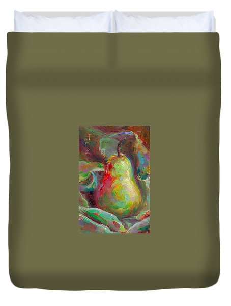 Just A Pear - Impressionist Still Life Duvet Cover
