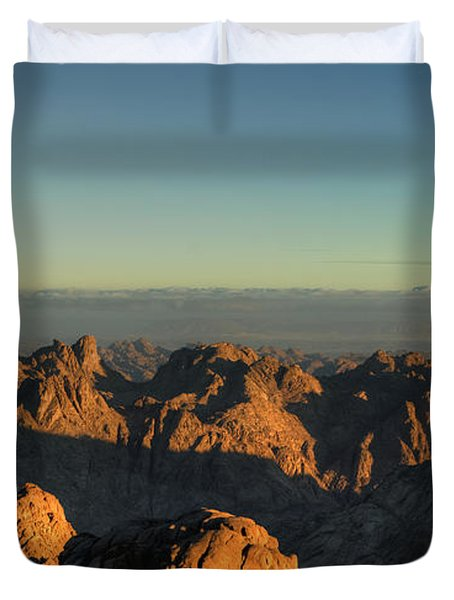 Duvet Cover featuring the pyrography Just After Sunrise by Julis Simo