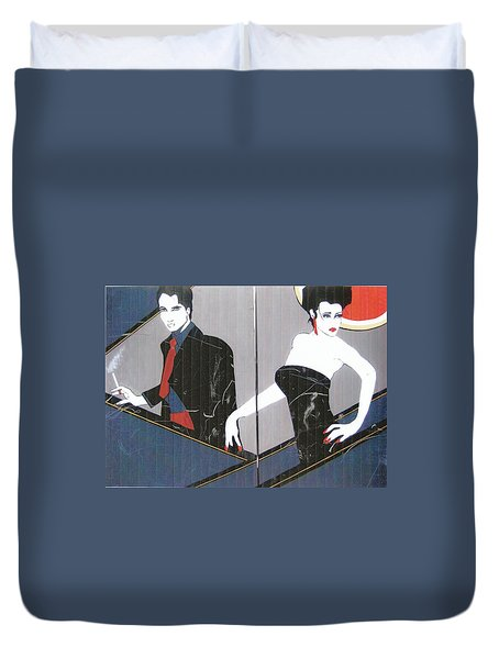 Duvet Cover featuring the painting Just Passing By by Nora Shepley
