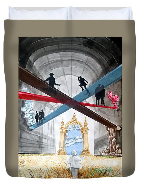 Duvet Cover featuring the painting Just Paths  by Lazaro Hurtado