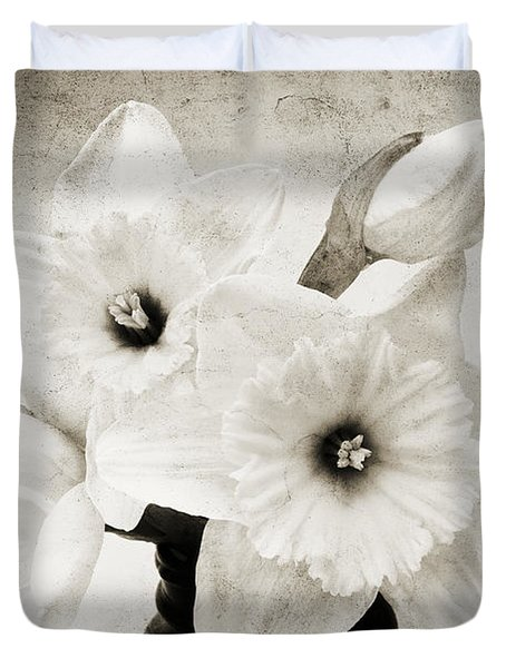 Just Plain Daffy 1 B W - Flora - Spring - Daffodil - Narcissus - Jonquil Duvet Cover by Andee Design