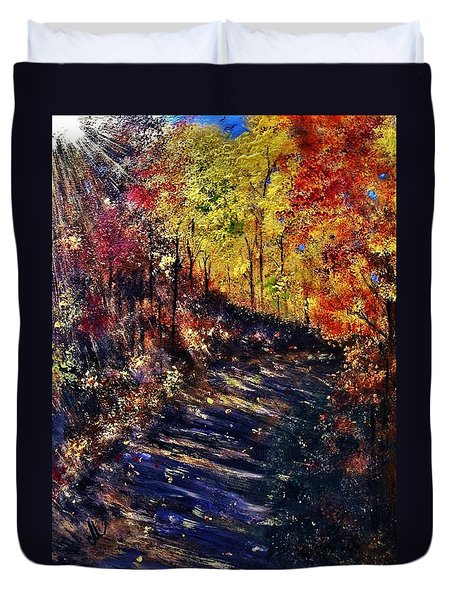 Duvet Cover featuring the painting Just The Sound Of The Forest... by Cristina Mihailescu