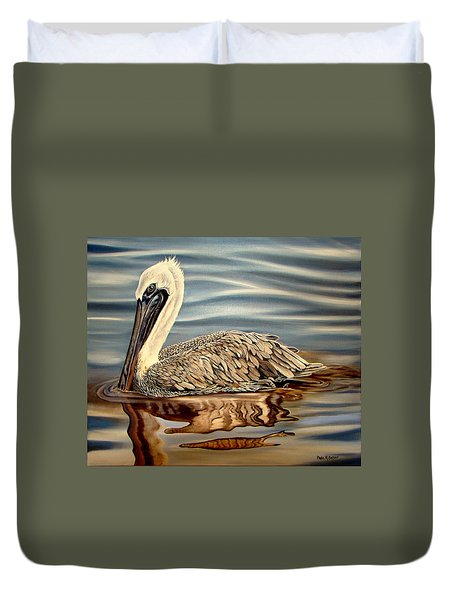 Duvet Cover featuring the painting Juvenile Pelican by Phyllis Beiser