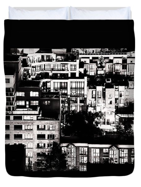 Duvet Cover featuring the photograph Black And White - Juxtaposed And Intimate Vancouver View At Night - Fineart Cards by Amyn Nasser