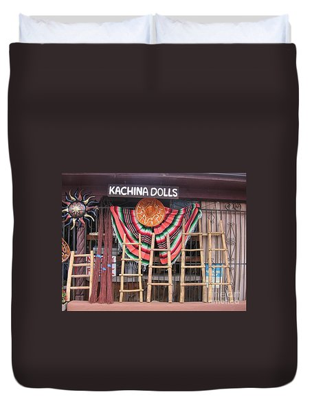 Duvet Cover featuring the photograph Kachina Dolls Local Store Front by Dora Sofia Caputo Photographic Art and Design
