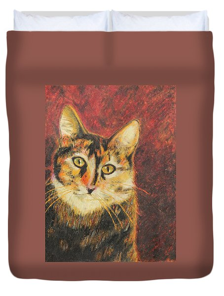 Duvet Cover featuring the painting Kaco by Jeanne Fischer