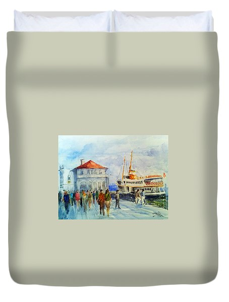 Kadikoy Ferry Arrives Duvet Cover