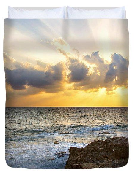 Kaena Point State Park Sunset 2 - Oahu Hawaii Duvet Cover