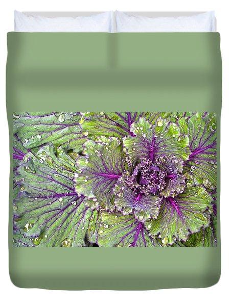 Kale Plant In The Rain Duvet Cover