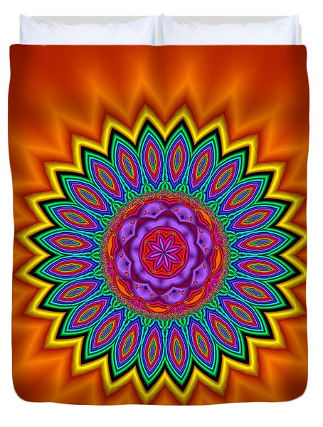 Kaleidoscope 1 Bright And Breezy Duvet Cover by Faye Symons