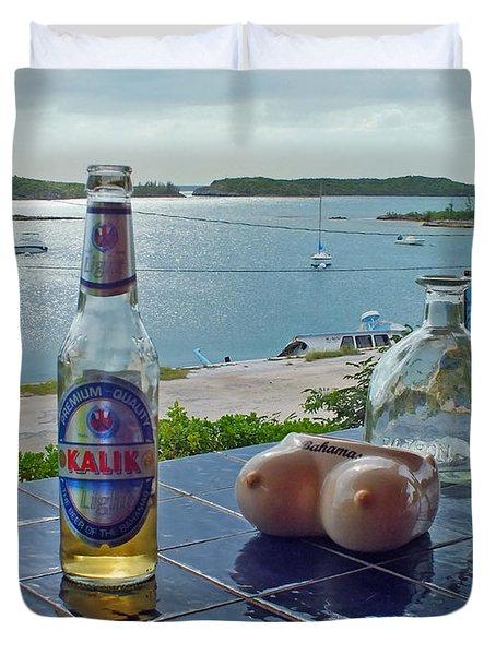 Kalik Beer Bottle At The Front Porch Duvet Cover