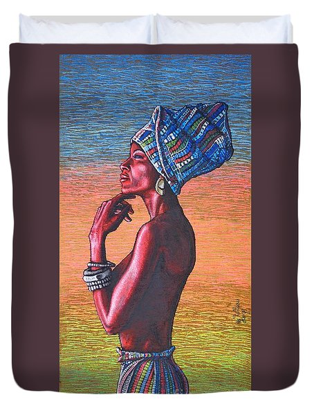 Duvet Cover featuring the painting Kalimba De Luna by Viktor Lazarev