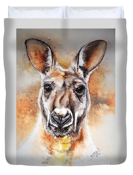 Kangaroo Big Red Duvet Cover by Sandra Phryce-Jones
