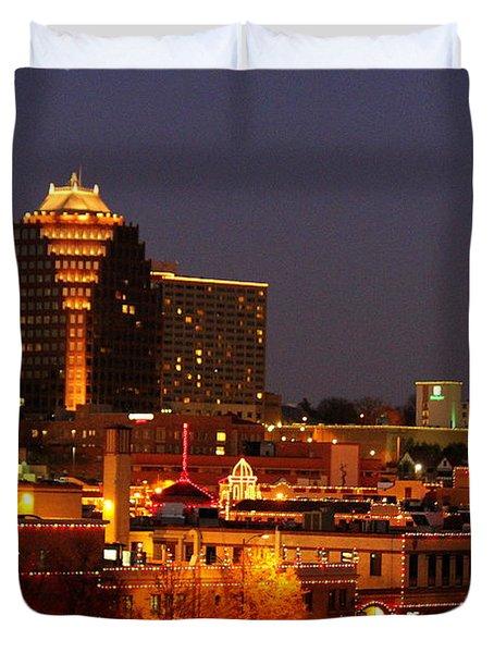 Kansas City Plaza Lights Duvet Cover by Catherine Sherman