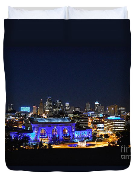Kansas City Union Station In Blue  Duvet Cover by Catherine Sherman