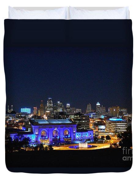 Kansas City Union Station In Blue  Duvet Cover