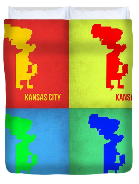 Kansas Pop Art Map 1 Duvet Cover