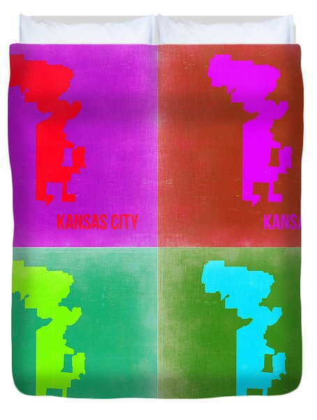 Kansas Pop Art Map 2 Duvet Cover