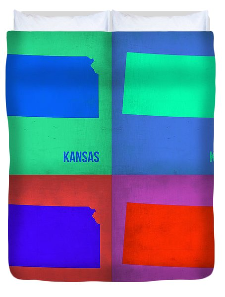 Kansas Pop Art Map 3 Duvet Cover