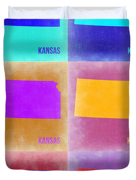 Kansas Pop Art Map 4 Duvet Cover