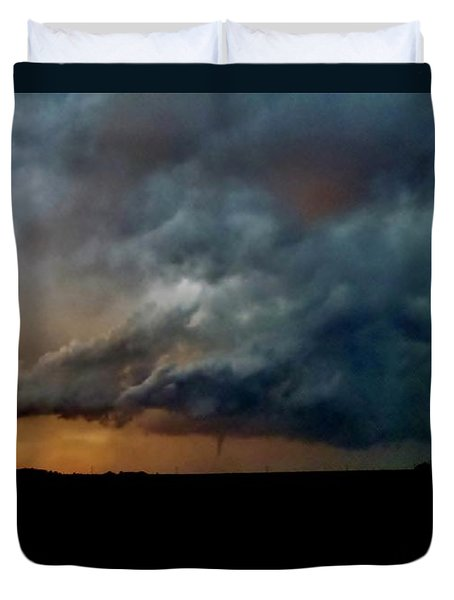Duvet Cover featuring the photograph Kansas Tornado At Sunset by Ed Sweeney