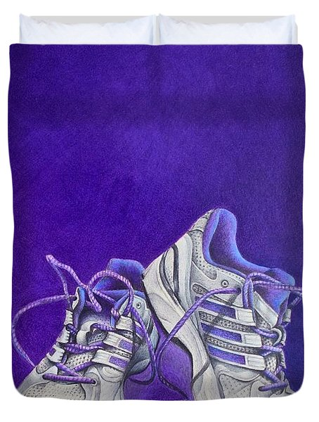 Duvet Cover featuring the painting Karen's Shoes by Pamela Clements