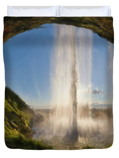 Duvet Cover featuring the painting Karen's Waterfalls by Bruce Nutting