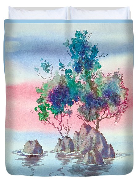 Duvet Cover featuring the painting Karma Dream by Teresa Ascone