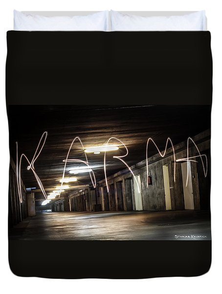 Duvet Cover featuring the photograph Karma Light Painting by Stwayne Keubrick