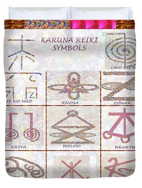 Karuna Reiki Healing Power Symbols Artwork With  Crystal Borders By Master Navinjoshi Duvet Cover