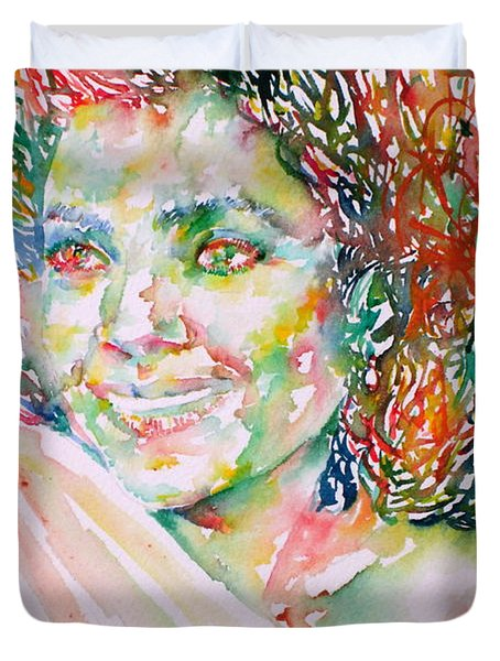 Kathleen Battle - Watercolor Portrait Duvet Cover by Fabrizio Cassetta