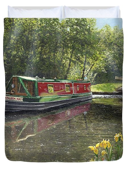 Kathleen May Chesterfield Canal Nottinghamshire Duvet Cover by Richard Harpum