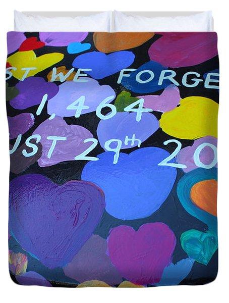 Katrina Casket Memorial Inscription Duvet Cover