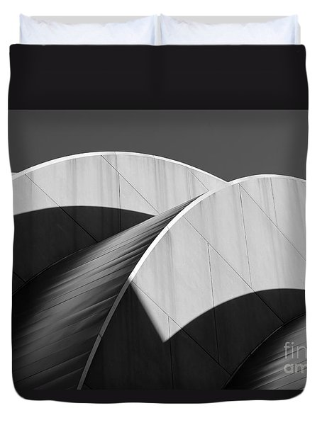 Kauffman Center Curves And Shadows Black And White Duvet Cover