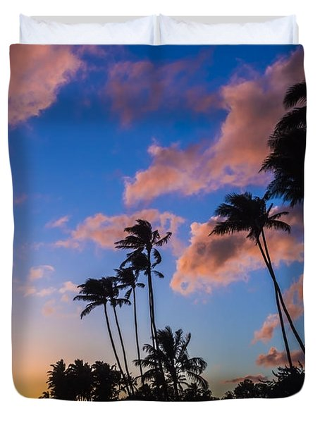 Duvet Cover featuring the photograph Kawakui Sunset 3 by Leigh Anne Meeks