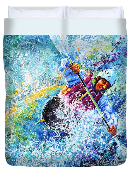 Duvet Cover featuring the painting Kayak Crush by Hanne Lore Koehler
