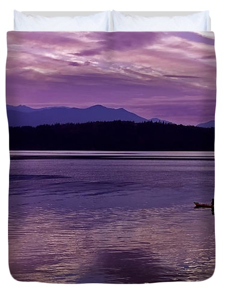 Duvet Cover featuring the photograph Kayak On Dabob Bay by Greg Reed