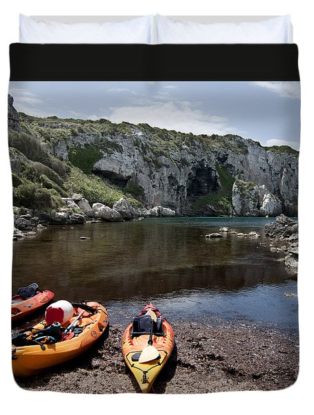 Kayak Time - The Landscape Of Cales Coves Menorca Is A Great Place For Peace And Sport Duvet Cover