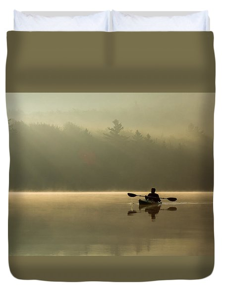 Kayaking At Sunup Duvet Cover