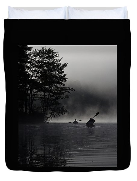 Kayaking In The Fog Duvet Cover