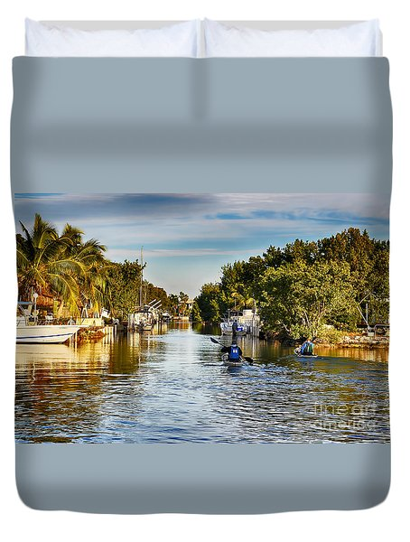 Kayaking The Canals Duvet Cover