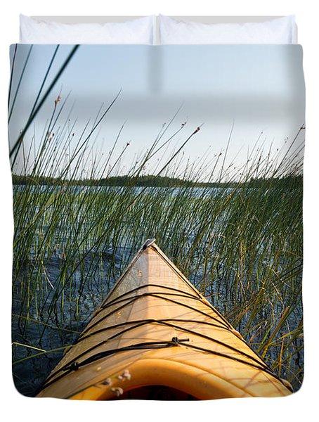 Kayaking Through Reeds Bwca Duvet Cover