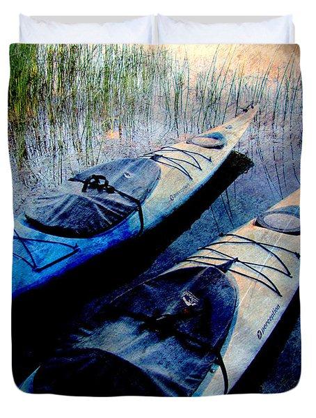 Kayaks Resting W Metal Duvet Cover