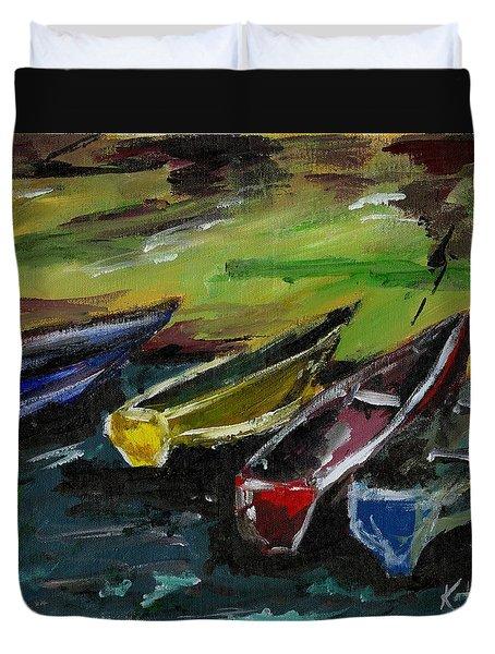 Kazinga Channel Boats Duvet Cover
