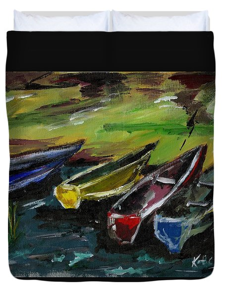 Kazinga Channel Boats Duvet Cover