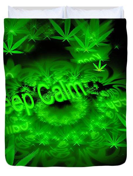 Keep Calm - Green Fractal Weed Art Duvet Cover